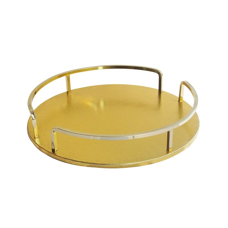 American Atelier Shagrin Rail Tray, Gold/Gold, Round