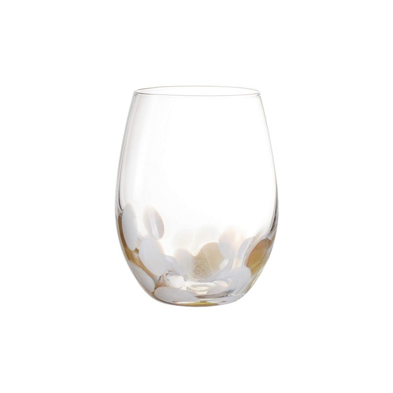 Elle Decor Simone Set of 4 Stemless Goblets-White/Gold