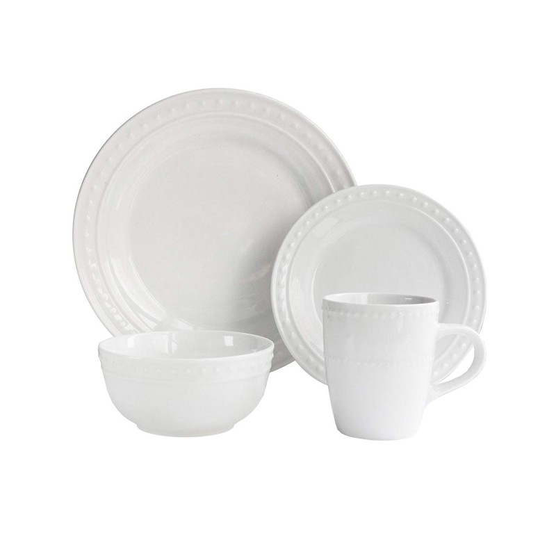 Elle Decor Monique Porcelain 16 Piece Round Dinnerware Set, White