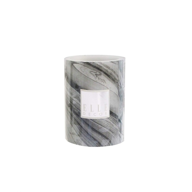 Elle Decor Marble Round Pillar LED Candle 3 x 4, Black