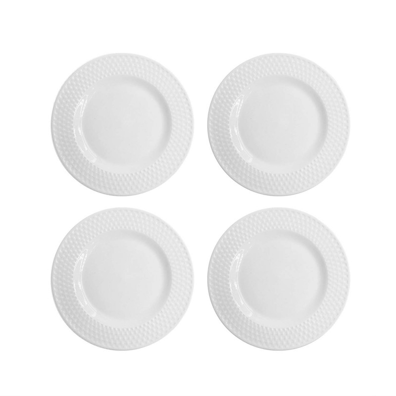 Elle Decor 6831-4S Juliette Salad Plates, White