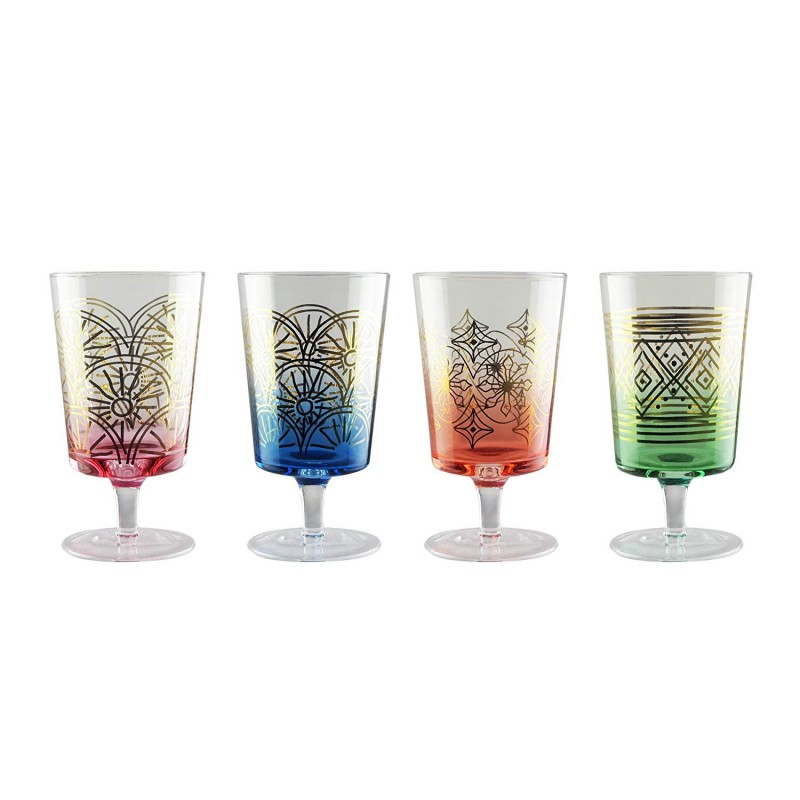 Fifth Avenue Crystal 229298-4WN Soiree Wine Glasses, 3 x 3 x 8, Multicolor
