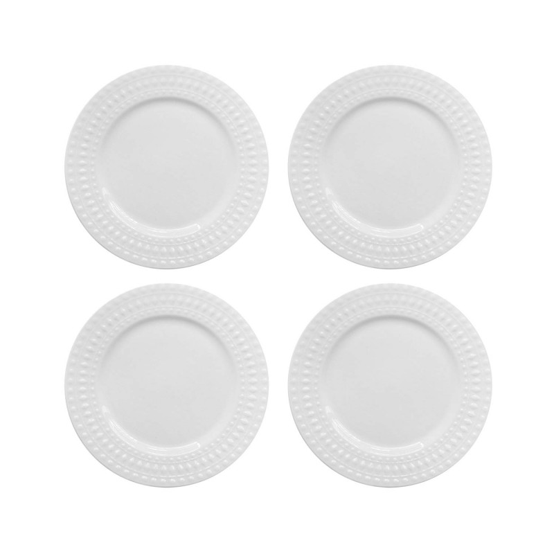 Elle Decor 6828-4S Amelie Salad Plates, White