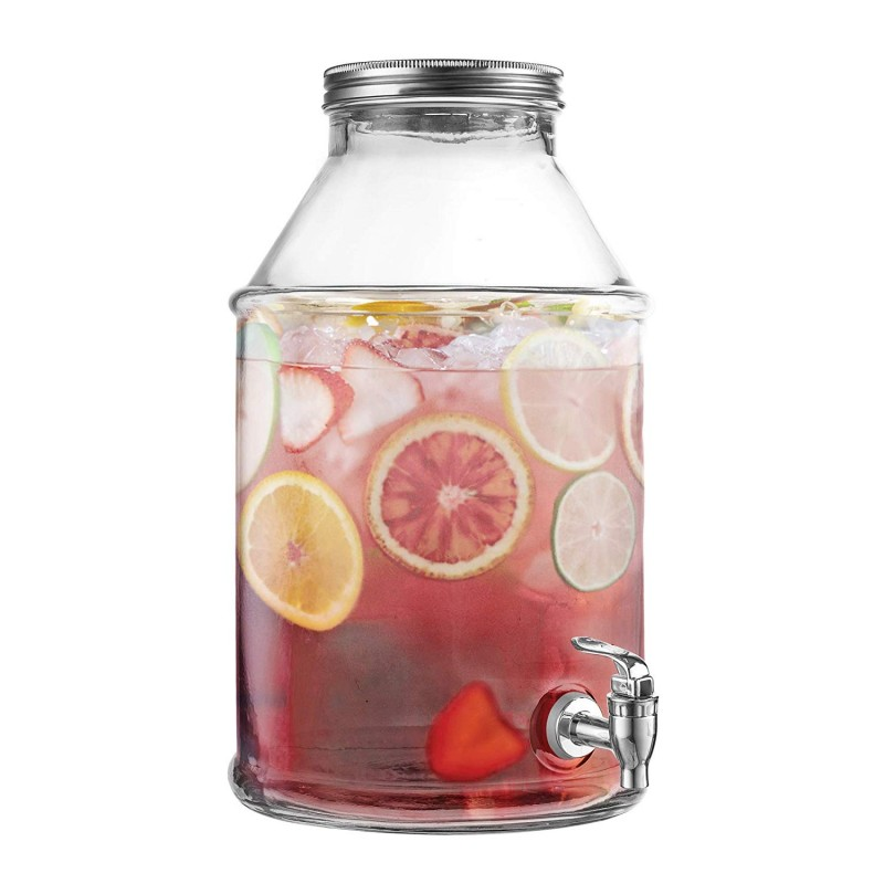 Style Setter Maxwell 210455-GB 1.7 Gallon Glass Beverage Drink Dispenser with Metal Lid, 9.5 x 14, Clear