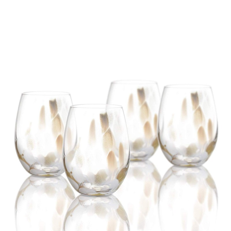 "Elle Decor 229511-4ST Celeste Set of 4 Stemless Wine Goblets, 18 oz., 3"" x 3"" x 4"", White/Gold"