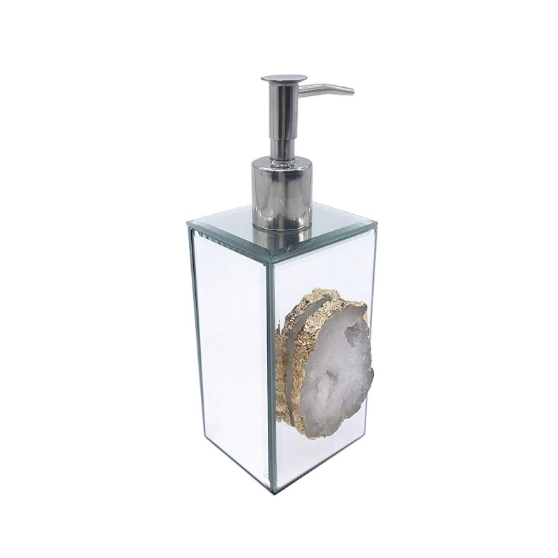 American Atelier Agate Dispenser Lotion Dispenser, Silver