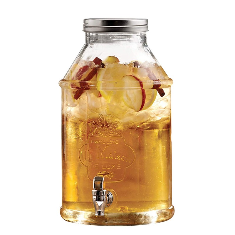 Style Setter La Maison 210452-GB 1.7 Gallon Glass Beverage Drink Dispenser with Metal Lid, 9.5 x 14, Clear