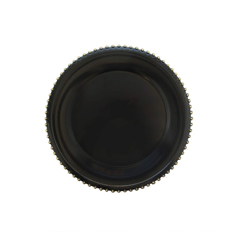 """Round Beaded Edge Charger Plates 13"""" Diameter, Set of 4 – BLACK/GOLD"""