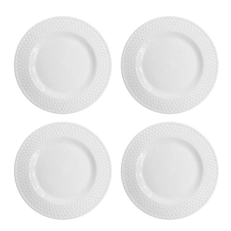 Elle Decor Juliette Set of 4 White Dinner Plates