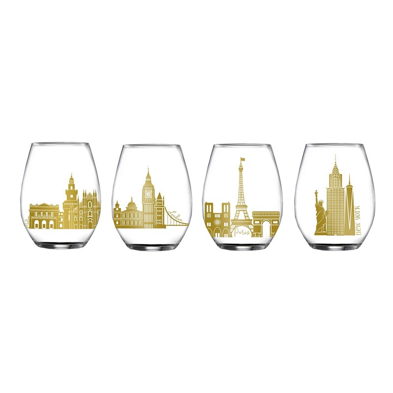Elle Decor 229135-4ST Cities Stemless Glasses, Clear