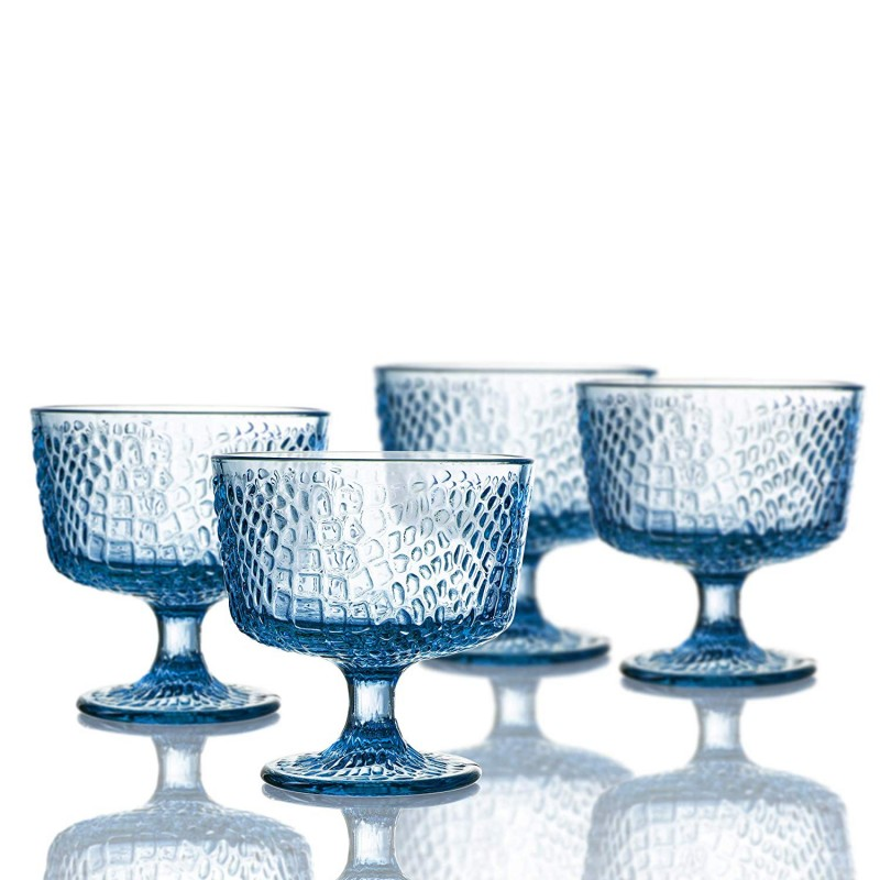 Elle Decor Bistro Croc Set of 4 Pedestal Bowls, Blue