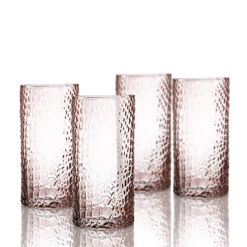 Elle Decor 229805-4HBPU Bistro Croc 4 Pc Set Highball, Pink-Glass Elegant Barware and Drinkware, Dishwasher Safe, 15.5 Oz
