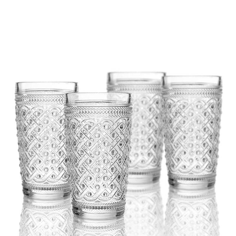 Elle Decor 229807-4HB Bistro Ikat Set of 4 Highballs, Clear-Glass Elegant Barware and Drinkware, Dishwasher Safe, 13 Oz
