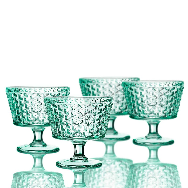 "Elle Decor 229803-4PBGR Bistro Weave Pedestal Bowls (Set of 4), 4.3"" x 4.3"", Green"