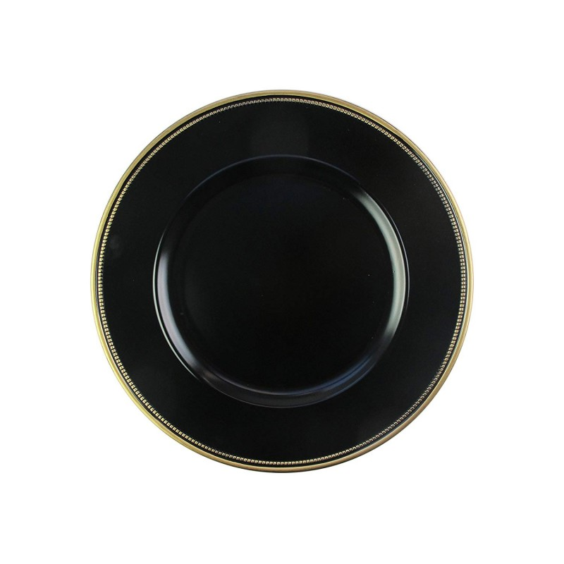 "Round Charger Plates 13"" Diameter, Set of 4 – BLACK/GOLD"