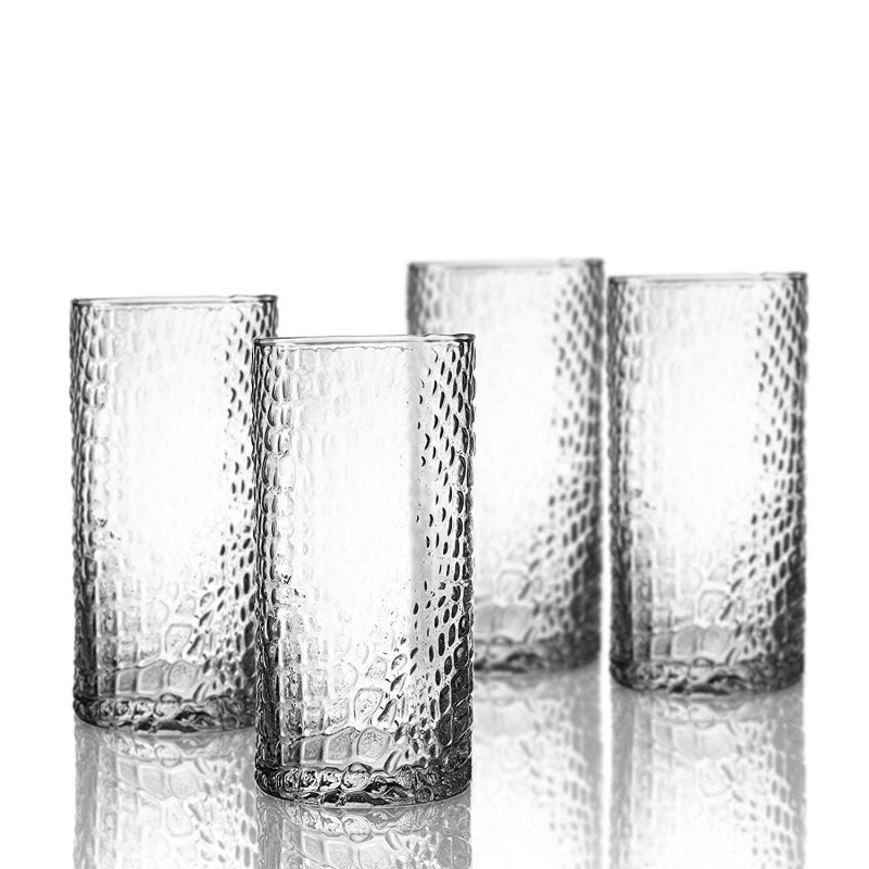 Elle Decor 229805-4HB Bistro Croc 4 Pc Set Highball, Clear-Glass Elegant Barware and Drinkware, Dishwasher Safe, 15.5 Oz