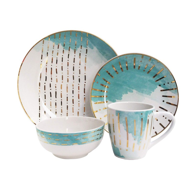 "American Atelier 7113-16-RB Soiree Dream Dinnerware Set, 10.5"" x 10.5"", Teal"
