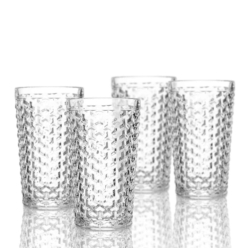Elle Decor  229803-4HB Bistro Weave  4 Pc Set Highball Glasses, Clear-Glass Elegant Barware and Drinkware, Dishwasher Safe 13.5 Oz Clear