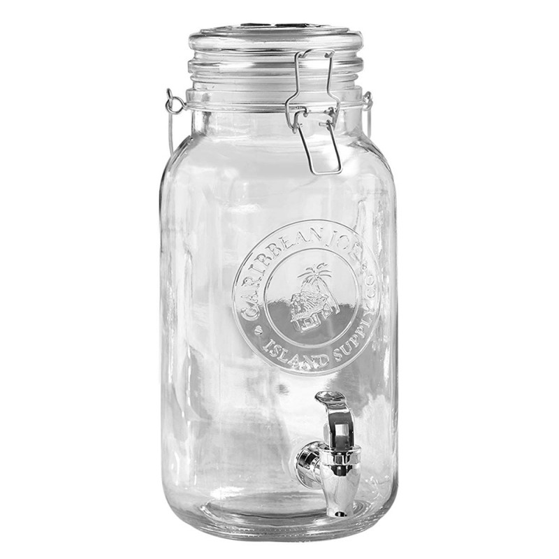 "Caribbean Joe Embossed 210777-GB Beverage Cold Drink Dispenser w/ 1-Gallon Capacity Glass Jug, 5.5"" x 12.3"" - Clear"