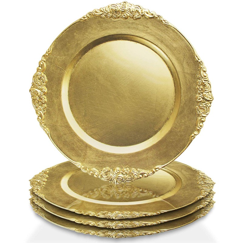 ChargeIt by Jay Leaf Charger Plates (Set of 4), Gold