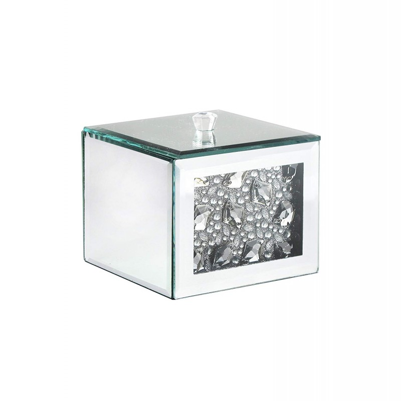 American Atelier Mirror Cotton Ball Box with Jewel Accent