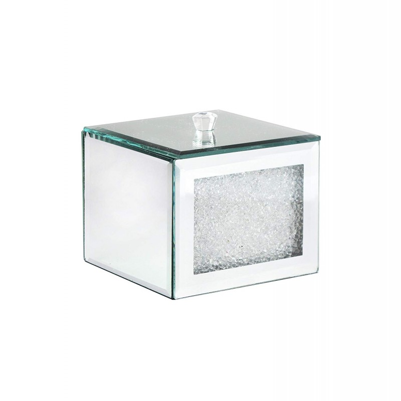American Atelier Cotton Ball Box 1281232 Decorative Box, Silver