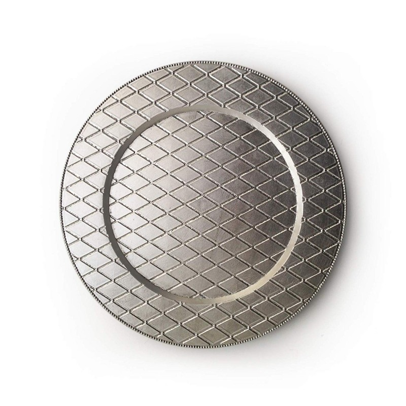 ChargeIt by Jay 1180255 Round Plaid Charger Plate