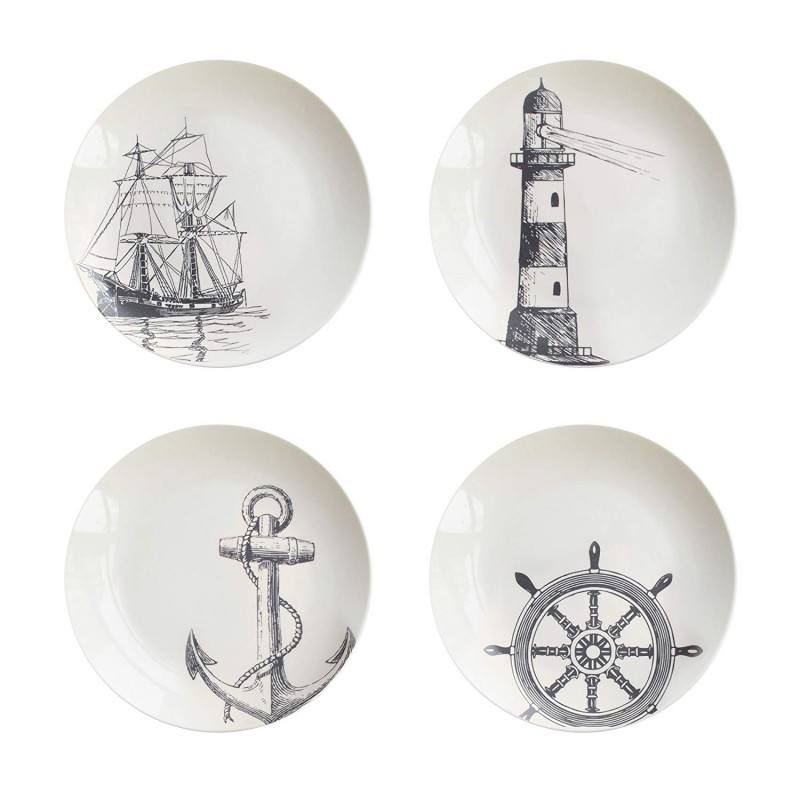 "American Atelier 1562292 Nautical Salad Plate Set, 8"" x 8"", White"
