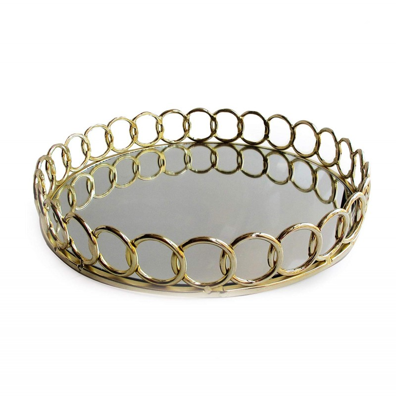 American Atelier Round Loop Mirror Tray-Gold