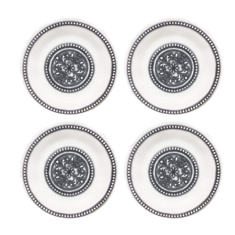 American Atelier Medallion Beaded Set of 4 Dinner Plates