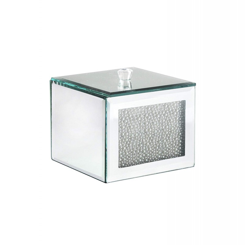 American Atelier Mirror Cotton Ball Box with Pearl Accent