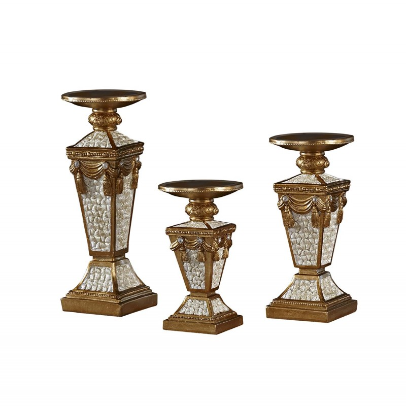 American Atelier Candle Holders Gold/White Set of 3 Square, 3 Piece