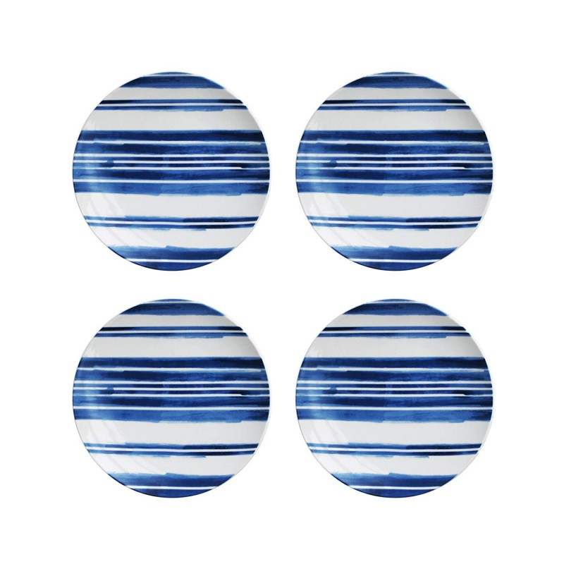 American Atelier Set of 4 Blue Swoosh Stripes Salad Plates