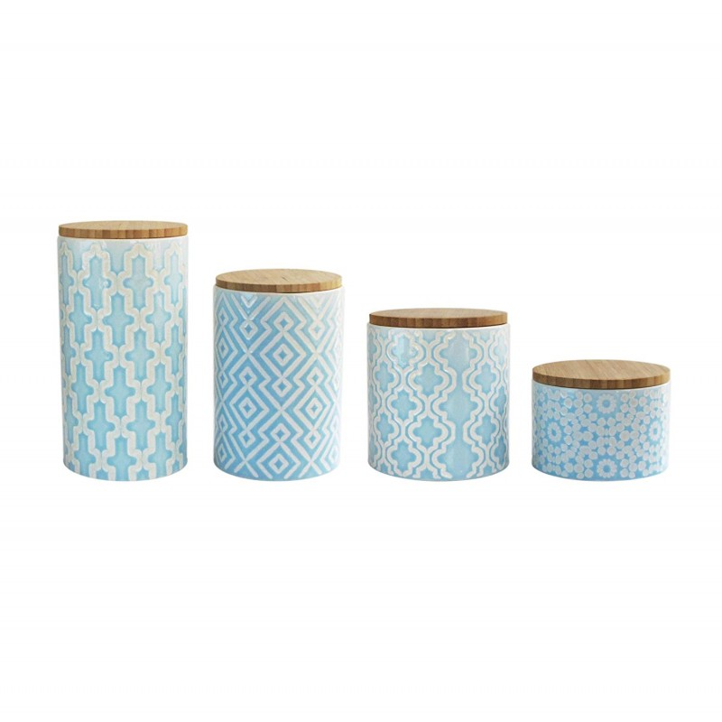American Atelier 6294-CAN Arabesque Canister Set, Blue, 4 Pieces