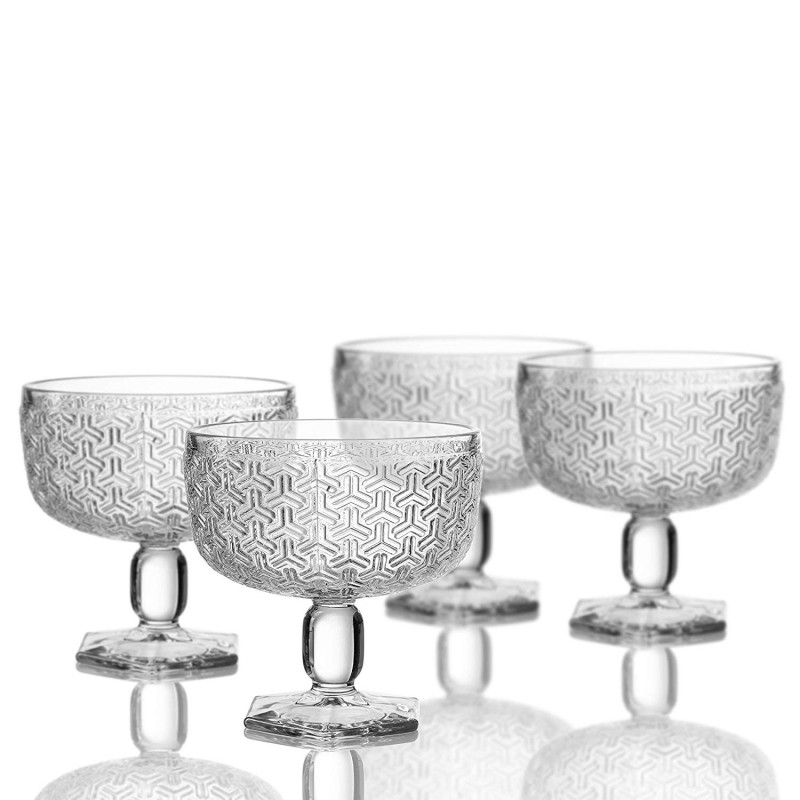 "Elle Decor 229806-4PB Bistro Key Pedestal Bowls, Clear, 4.3"" x 4.3"""