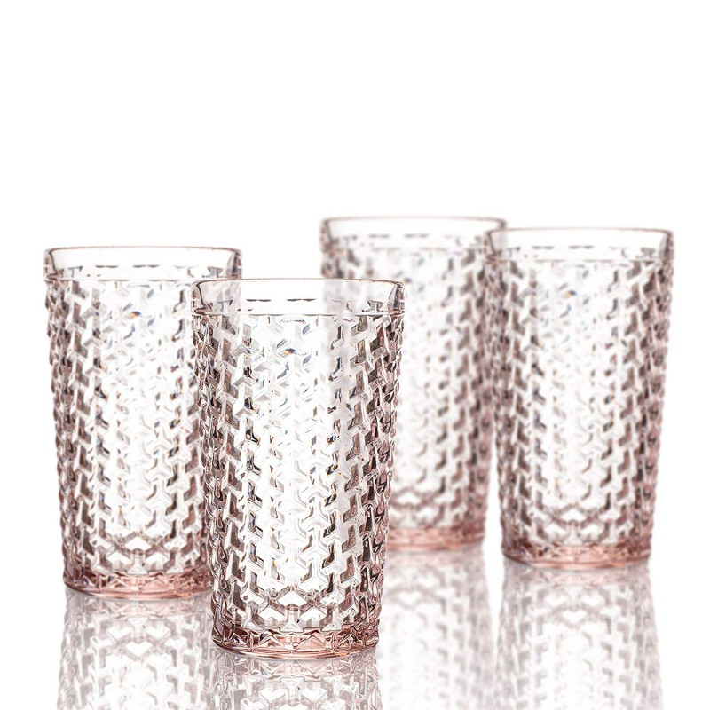 Elle Decor 229803-4HBPU Bistro Weave 4 Pc Set Highball, Pink-Glass Elegant Barware and Drinkware, Dishwasher Safe, 13.5 Oz