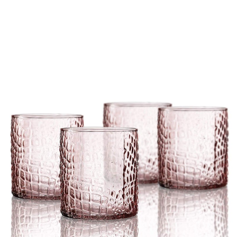 Elle Decor 229805-4OFPU Bistro Croc 4 Pc Set Old Fashion, Pink-Glass Elegant Barware and Drinkware, Dishwasher Safe, 12.8 Oz