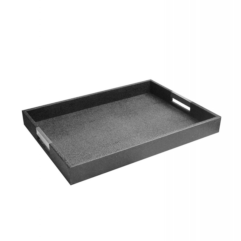 "American Atelier Rectangle Serving Tray with Silver Handles, 14"" x 19"" x 2"", Black"