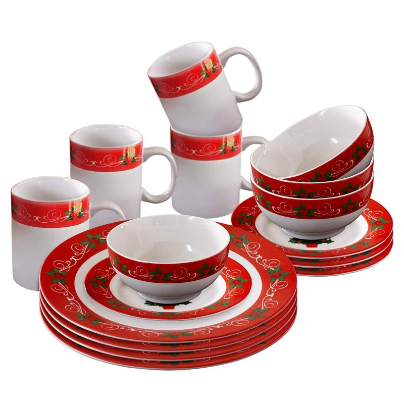 American Atelier V228-16-SET Classic Christmas Dinnerware Set, Red