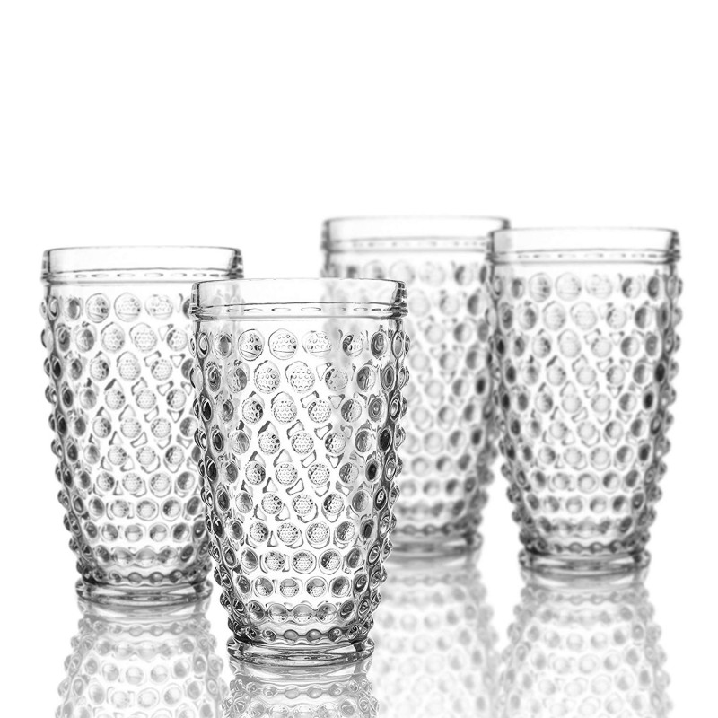 Elle Decor  229804-4HB  Bistro Dot  4 Pc Set Highball Glasses, Clear-Glass Elegant Barware and Drinkware, Dishwasher Safe 13.5 Oz Clear
