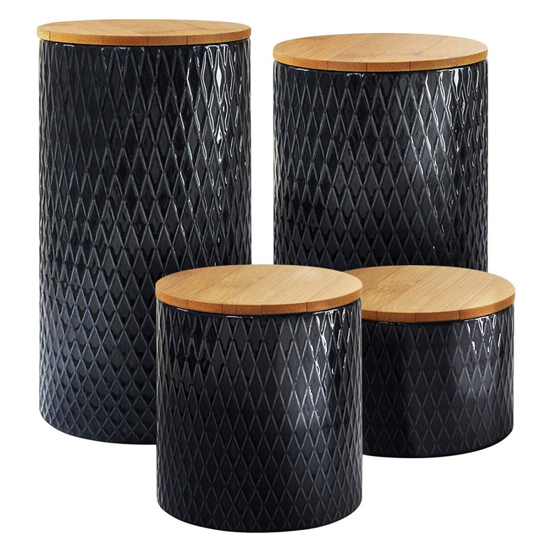 "American Atelier Diamond Embossed Navy 4 PC Canister Set,4.3""x3/4.6/6.5/8.25""h,12/"