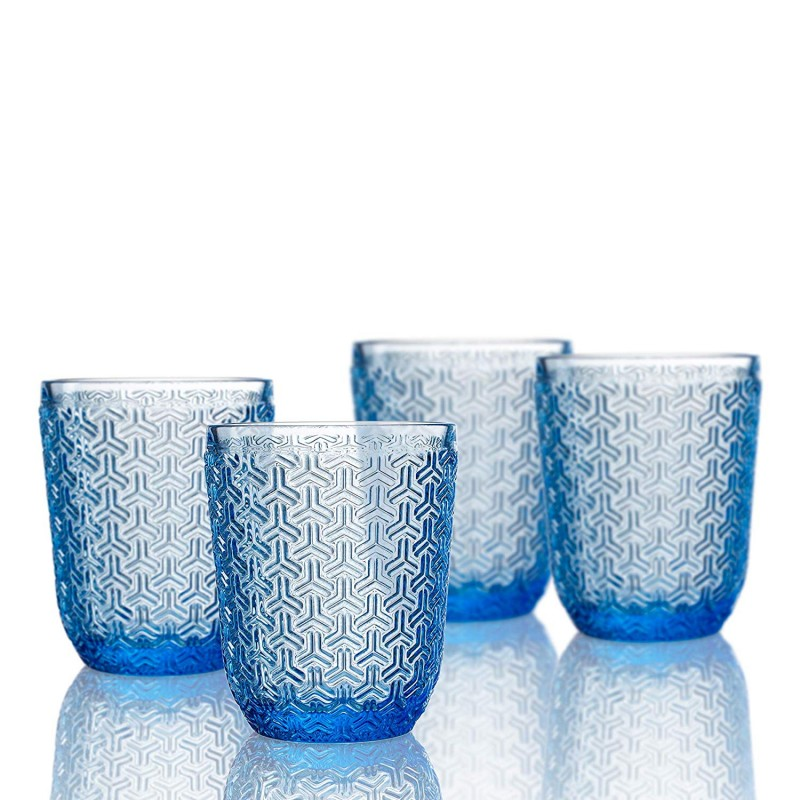 Elle Decor  229806-4OFBL  Bistro Key  4 Pc Set Old Fashion Glasses, Blue-Glass Elegant Barware and Drinkware, Dishwasher Safe 10.8 Oz Blue
