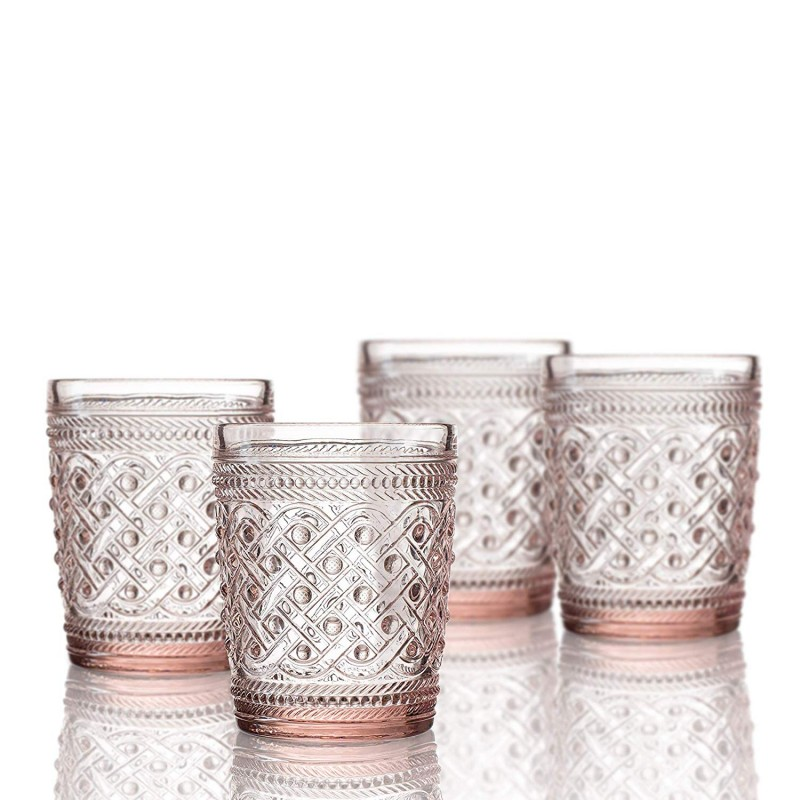 Elle Decor  229807-4OFPU Bistro Ikat  4 Pc Set Old Fashion Glasses, Pink-Glass Elegant Barware and Drinkware, Dishwasher Safe 9.8 Oz Pink