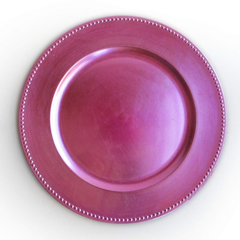ChargeIt by Jay Beaded Round Charger Plate, Pink