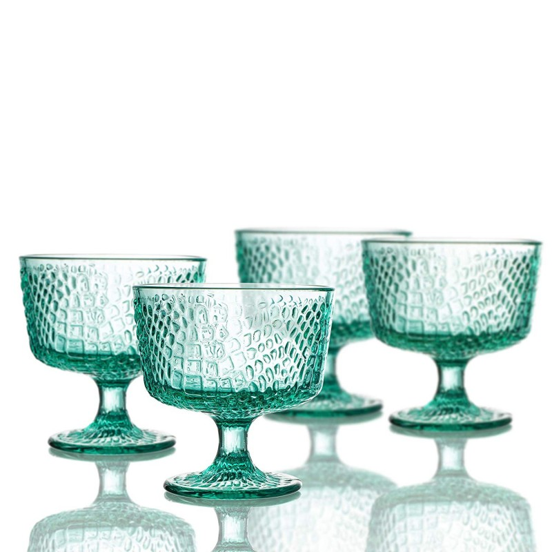 Elle Decor Bistro Croc Set of 4 Pedestal Bowls, Green