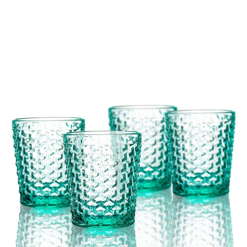 Elle Decor 229803-4OFGR Bistro Weave 4 Pc Set Old Fashion, Green-Glass Elegant Barware and Drinkware, Dishwasher Safe, 10.8 Oz
