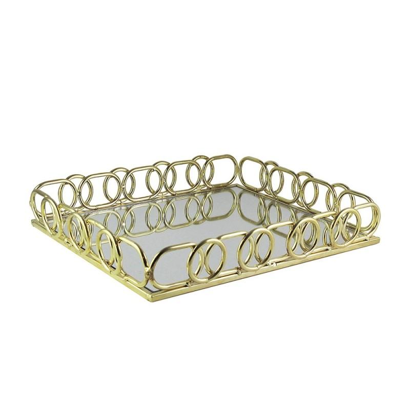 American Atelier 1330804 Rectangle Mirror Decorative Tray with Metal Rim - Gold