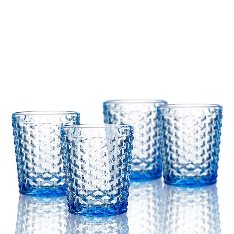 Elle Decor  229803-4OFBL Bistro Weave  Set of 4 Old Fashions, Blue-Glass Elegant Barware and Drinkware, Dishwasher Safe 10.8 Oz Blue
