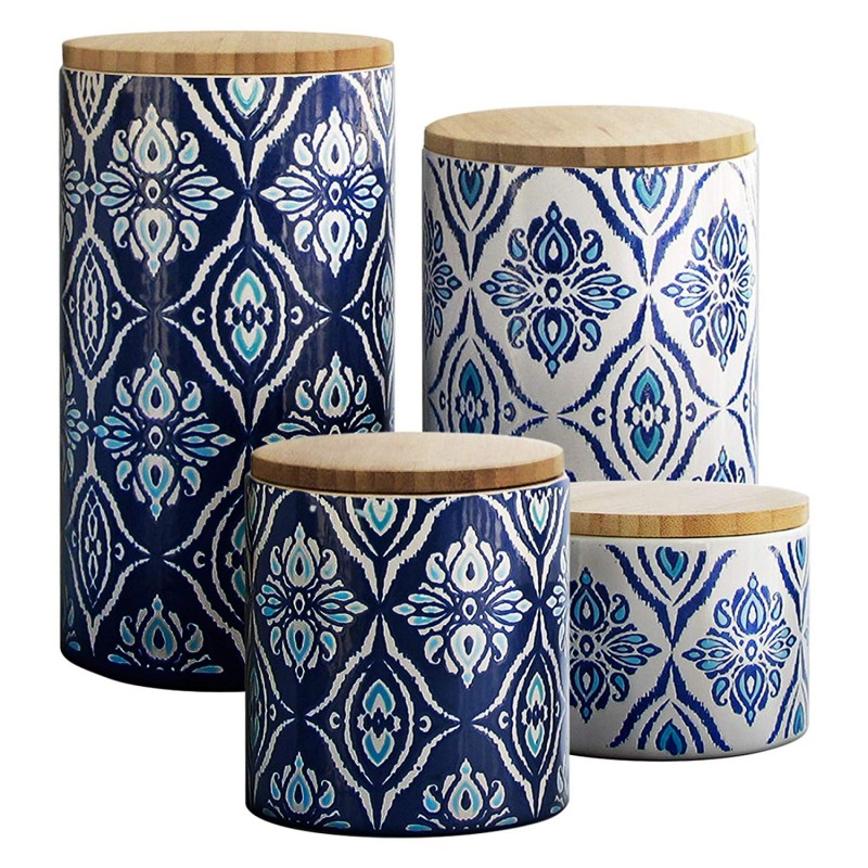 American Atelier Pirouette 4Piece Canister Set, Blue/White