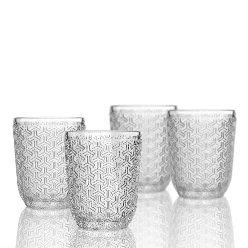 Elle Decor  229806-4OF Bistro Key  4 Pc Set Old Fashions, Clear-Glass Elegant Barware and Drinkware, Dishwasher Safe 10.8 Oz Clear